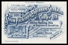 Steam Packing & Engineers' Sundries Company | Sheaff : ephemera