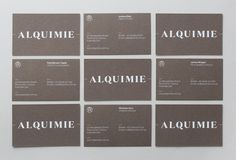 Logotype and white ink, warm grey business card designed by ThoughtAssembly for quarterly beverage magazine Alquimie #bb