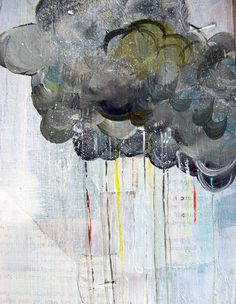 Rain in Technicolor Big Print in 8.5x11 inches grey gray cloud, rainbow raindrops, white blue sky #clouds #paint #collage