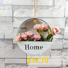 Iron #Wall #Hanging #Fake #Flower #Basket #Pot #Vase #for #Home #Garden #Decoration #Crafts #- #WHITE