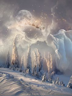Christmas night, new year card, flying Santa Claus, fairy christmas landscape, snow scene, christmas trees, iceberg, night stars, moon light #fairy #santa #snow #christmas #photoshop #stars #magic #xmas