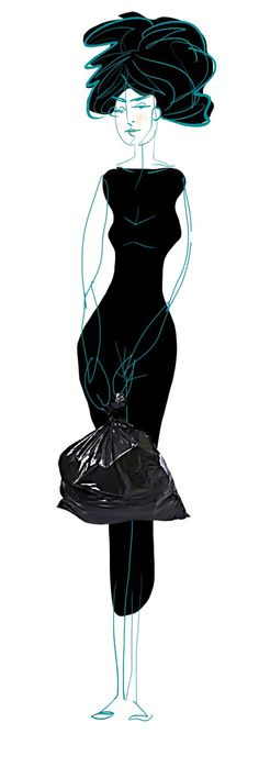 Specialmagazin #drawing #woman #black #hole body #black wear #garbage bag #character