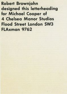 Interesting Letterhead Designs | Letterheady #letterhead #robert #brownjohn