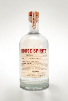 House Spirits White Dog Whiskey. Portland's small batch limited edition spirits. #whiskey #packaging #design #portland #liquor #food #booze #typography