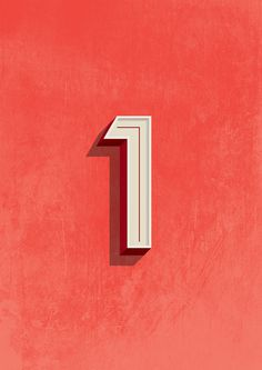 One Art Print #illustration #typography #numbers #one