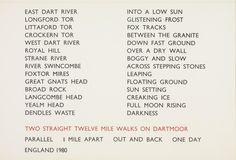 Richard Long, 'Two Straight Twelve Mile Walks on Dartmoor, England 1980' 1980; Screenprint on paper