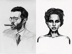 illustration, portrait, caroline bergsten, graphite, black and white, sketch, drawing