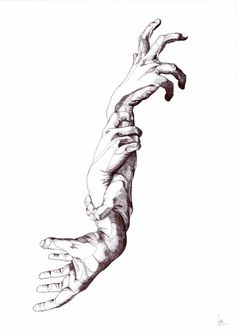 Paradoxes il·lustrades - OOSS #ilustration #draw #loop #paradoxes #hands #arms #black #white #bw #dark #dream