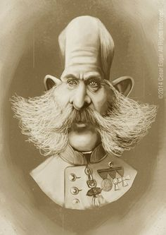 Franz Joseph on Behance #caricature #sepia #beard #head #exaggerated #illustration #art #funny