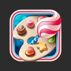 Sweet app icon #cake #icon #ramotion #jujube #icons #sweet #chocolate #candy #app #lollipop #painting #brush