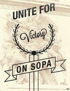 V - Anti-SOPA Campaign on the Behance Network #sopa #victory #poster
