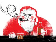 Santa w/whisky #illustration #whisky #santa