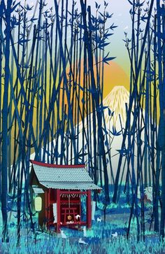 """On my way to Mount Fuji"" #Fuji #Japan #temple #Inari #kitsune #cats #playing #pet #lantern #bamboo #forest #illustration #decor #kids #art"