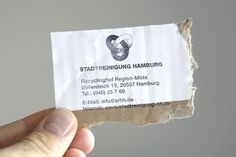 Recycling Visitenkarten fr die Stadtreinigung Hamburg #logo #business card #cardboard #germany