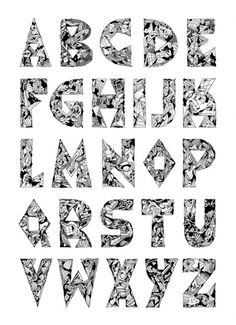 Hand-Drawn Alphabet by KLUB7 Art Collective Member DiskoRobot I Art Sponge #klub7 #graphic #drawing #letter #alphabet #drawn #hand #typography