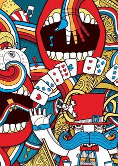 Circus #allan #horse #fairground #stripes #circus #hand #cards #mouth #psychedelic #deas