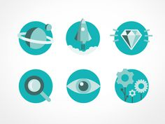 icons, icon set, graphic design, flat, spot on, caroline bergsten, eye, diamond, rocket, planet