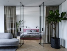 Open Plan Apartment Separated Only with Glass Panels - InteriorZine #bedroom #interior #decor