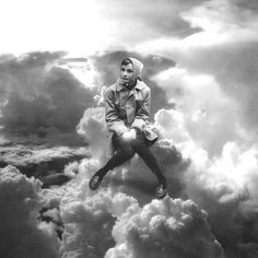 Audrey and The Clouds #audrey #clouds #collage #black and white