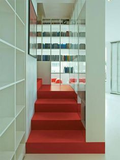 DUCA4 #architecture #red #interiors #stairs #bookcases #storage