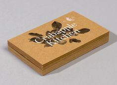 Crabapple Kitchen designed by Swear Words #business cards #didot #peach