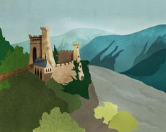 """""""On the Rhine!"""" Illustration by Alex Felter #rhine #castle #steeple #dungeon #river #trees"""