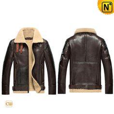 Mens B-3 Sheepskin Leather Bomber Jacket CW856118 #sheepskin #jackets #leather