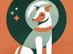 Dribbble - Laika, First Dog In Space by Eric R. Mortensen #illustration