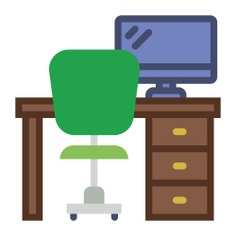See more icon inspiration related to desk, chair, studio, office, furniture, table and furniture and household on Flaticon.