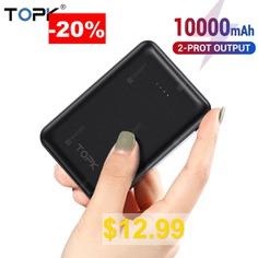 TOPK #10000 #mAh #Mini #Power #Bank #Dual #USB # #Portable #External #Phone #Battery #Charger #For #Xiaomi # #Huawei