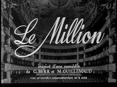 Le Million (1931) Title Card #movie #lettering #title #card #vintage #type