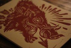 hog3 #cut #print #boar #block #wood #illustration