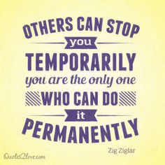 Others can stop you temporarily – you are the only one who can do it permanently. #ziglar #zig #motivational #quotes