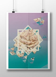 Time & Tears on Behance #flower #triangle #collage #gradients