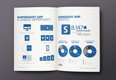 ShipInsight Media // Brochure on Behance #charts #graphics #infographics #print #infographic #graphic #icons #info #blue