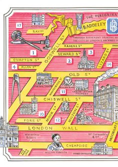 Map by Adam Dant, detailing the centuries of Baddeleys and their lives through London
