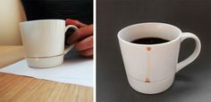 The coffee mug design avoids coffee stains