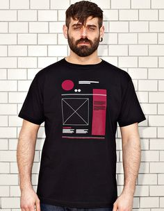 NATRI - WIREFRAME- black t-shirt - men #modern #print #design #shirt #minimal #wireframe #fashion #layout #typography