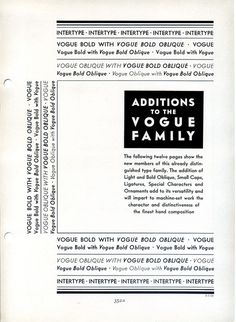 Vogue type specimen