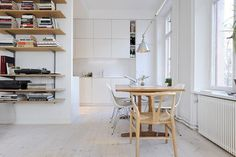 White boards #storage #lighting #kitchen #shelving