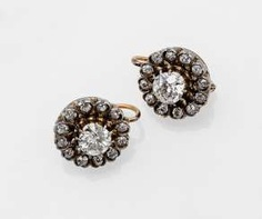 Pair of fine diamond earrings