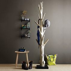 Discarded Tree Trunk Coat Rack #tech #flow #gadget #gift #ideas #cool