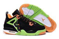 Retro Jordan 4 Men's Style Basketball Shoes Black/Volt/Orange-#43943-360