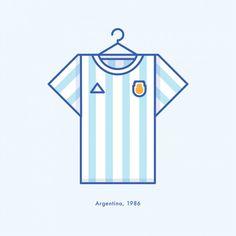 Argentina World Cup Winning Football Kit 1986 - Minimal Illustration by Lucas Jubb