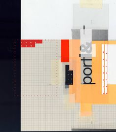 vertical, type, collage, shapes, grid, yellow, red