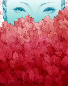 EK Interview: Yuta Onoda | EMPTY KINGDOM You are Here, We are Everywhere #red #woman #illustration #blue #flowers