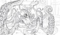 Ben Shafer Concept Art #guardian #octopus #tentacles #illustration #concept #art #mollusk #monster #sketch #kraken
