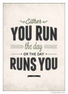 "Motivation ""Run The Day"" Wall Art by NeueGraphic #quote #print #design #neuegraphic #etsy #poster #typography"