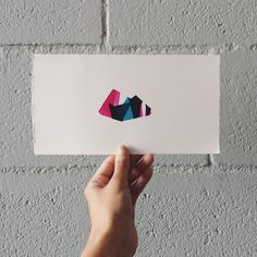 Original Screenprint by Fawna Xiao #screenprint #print #fawna #geometry #landscape #mountains #neon