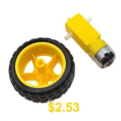 Smart #Car #Robot #Plastic #Tire #Wheel #with #DC #3-6V #Gear #Motor #for #Robot #- #YELLOW